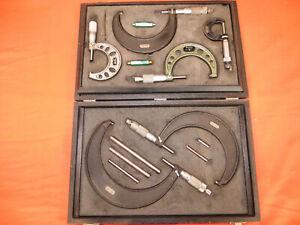 "Vintage 6pc Micrometer Set NSK Mitutoyo Starrett Proto 0-6"" w/ Case LOOK 1759"