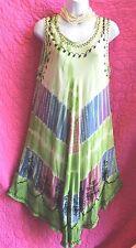 Multi-Color Rayon Tie Dye Sun Dress Free Size Shift Asymmetric Hem Embroidery