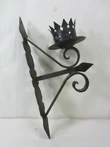 Antique Hand Forged Wrought Iron Gothic Style Candle Sconce