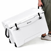 80Qt Large Heavy Duty Fishing Hunting Cooler Ice Chest Wheels Tow Handle Latches