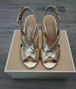 Michael Kors Slingback Dress Sandal Size 6 Light Gold Leather