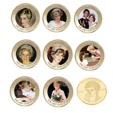24k Gold Plated Princess Diana 20th Gold Coin The Last Rose of England Coin 8pcs