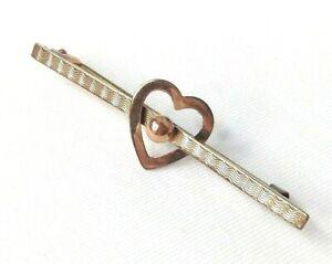 Womens 9ct / 9 Carat / 9K / 9 Karat Solid Gold 375 Heart Brooch - 1.24g