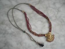 Collier Indien Perles Bordeaux