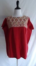 Vintage Mexican Boho Hippie Embroidered Poncho Shirt Festival Top Peasant Blouse