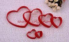 Love Heart Shape Plastic Cookie Cutter Fondant Sugarcraft DIY Baking Mold 6pcs