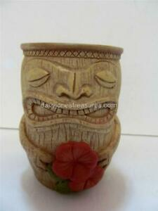 Tropical HANG TEN Bath Line TIKI Tumbler Tahitian God Totem with Hibiscus RARE