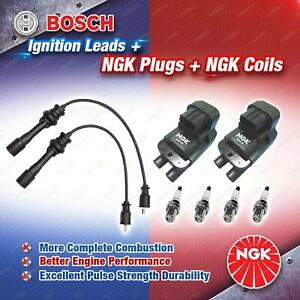 NGK Spark Plugs Coils + Bosch Leads Kit for Ford Laser KN FP 1.8L 4Cyl 1999-2001