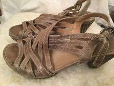 Josef Seibel Sandals Size 39 US 9 Gray Ankle Strap Open Toe Heels