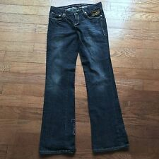 Christian Audiger Womens Size 30 Embellished Dark Blue Cotton Boot Cut Jeans