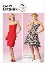 BUTTERICK SEWING PATTERN 6019 MISSES MARILYN SWEETHEART NECK DRESSES SIZES 12-20