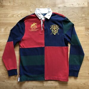 Ralph Lauren Multicoloured Colourblocked Big Logo Rugby/Polo Shirt M Long Sleeve