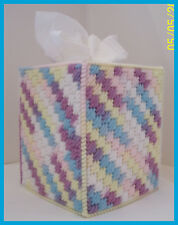 BLUE YELLOW PINK WHITE PURPLE HANDMADE PLASTIC CANVAS TISSUE BOX COVER TOPPER
