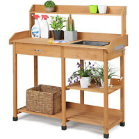 Potting Bench Table Garden Work Planting Benches Shelf with Sink Drawer Outdoor