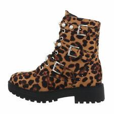 Damen Klassische Stiefeletten Biker Look Boots Nieten Booties 832033 Schuhe