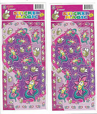 Flower & Bumble Bee Sticker Sheets Lot of 2 Cartoon Flower Bee Stickers Over 60