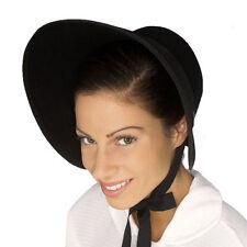 Black Felt Colonial Pilgrim Ladies Hat Amish Mennonite Quaker Costume Bonnet New