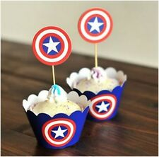 CAPTAIN AMERICA cupcake wrappers and toppers - Pack of 12  **AU SELLER!