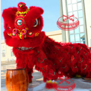 Red Lion Dance Mascot Costume MAO Nan Lion for Chinese Folk Art of Two Adults