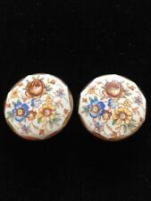 vintage ceramic floral clip on earrings