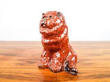Vintage Hardie Glazed Porcelain Red Dog Sculpture, Akita Statue Figure Figurine