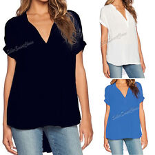 Chiffon V Neck Short Sleeve Blouses for Women