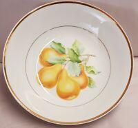 Saji Japan Fine China Pear Fruit Bowl Fine Porcelain Stunning Pattern Gold Trim