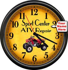 Personalized ATV Motorcycle Sports Racing Repair Mechanic Shop Sign Wall Clock