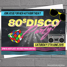 Personalised 80s Disco Birthday Party Invitations x 12 with free envelopes H0503