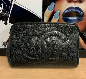 Auth CHANEL CC LOGO CAVIAR Timeless Cosmetic Pouch Small MINI Black Coin Pouch