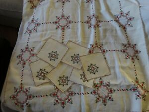 DRAWN THREAD Embroidery Russian TABLECLOTH W/ 6 NAPKINS - handstitched Red Black