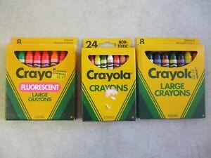 LOT OF 3 VINTAGE 1990'S CRAYOLA CRAYON COMPLETE PACKS