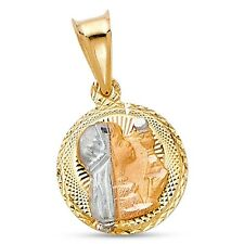 Round First Communion Pendant Solid 14k Yellow White Rose Gold Christian Charm