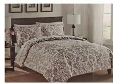 New Floral Print 3-Piece Queen Comforter Set Purple & Beige Colors