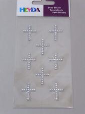 8 Deko Sticker Kreuz silber Kommunion Konfirmation Kartengestaltung Einladung