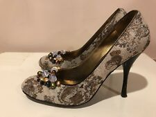 BCBGMAXAZRIA VINTAGE HIGH HEEL PUMPS , Natural Stones Accented  39.5