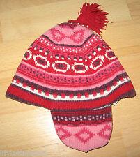 Bonnet péruvien à oreilles, pompom, doublé polaire - 52 cm