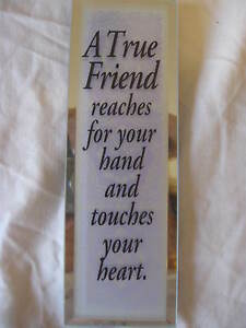 Inspirational Vertical Mirror Plaque A True Friend reaches for your... CL23-2