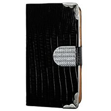 FOR SAMSUNG Galaxy S III SPRINT L710 BLACK Crocodile wallet Metal Diamonds case