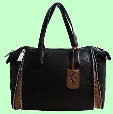 FURLA AMAZZONE Genuine Onyx Black Leather Satchel Carryall Bag Msrp $598.00