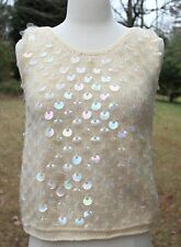 Vintage 1950s Cream WovenTank Top with Holographic Sequins Pin Up KITSCH Mod