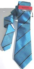 NEW Mens Tie Necktie with Tie Bar Marine Blue Black Multi Stripe Alfani A2377