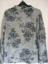 LONG TALL SALLY GREY BLUE FLORAL STAND NECK TOP. UK 18-20, EUR 46-48, US 14-16