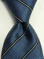 GIORGIO ARMANI Collezioni Men's Silk Necktie ITALY Luxury STRIPED Blue/White EUC