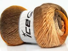 Lot of 4 x 100gr Skeins Ice Yarns Primadonna (50% Wool) Yarn Brown Shades Gold