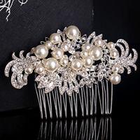 Elegant Bridals Crystal Rhinestone Flower Pearl Hair Clip Hair Comb Wedding