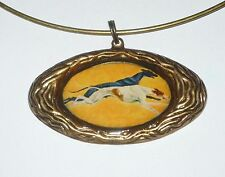 Altered Art Pair of Greyhound Dogs in Flight Pendant Neckring, Ant. Bronze