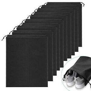 10er Schuhbeutel, Wasserabweisend Schuhtasche Staubdicht 35 * 45cm, Schwarz