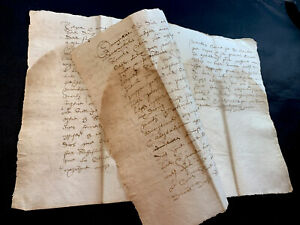 1608 ANTIQUE MANUSCRIPT with Crown Watermark  - 8 pages