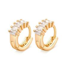 18K Gold Plated Cut AAA Square Cubic Zirconia CZ Loop Round Circle Hoop Earrings